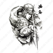 Load image into Gallery viewer, Warrior temporary tattoo design in black and gray color.