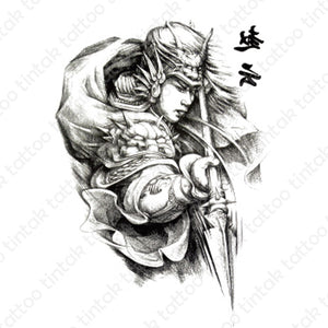 Warrior temporary tattoo design in black and gray color.
