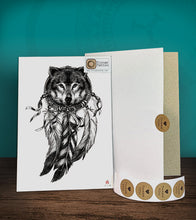 Load image into Gallery viewer, Tintak temporary tattoo sticker with wolf dream catcher design, with its hard board packaging.
