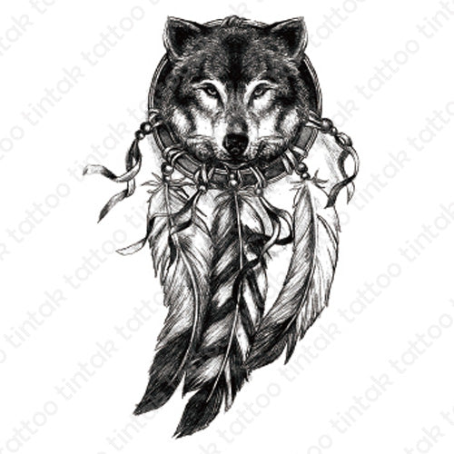 Black and gray dream catcher temporary tattoo design with the face of a wolf inside the circle.