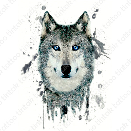 Wolf temporary tattoo sticker design with watercolor edges.