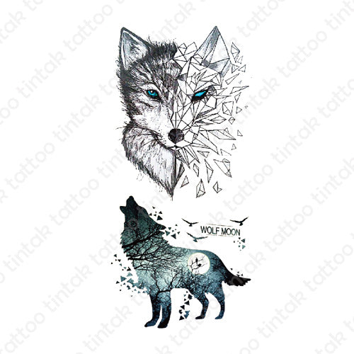 Two wolf moon temporary tattoo design with broken glass effect.