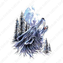 Load image into Gallery viewer, Howling wolf temporary tattoo sticker in black and blue color design.