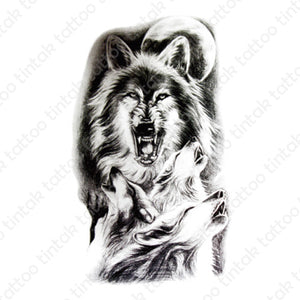 Wolves temporary tattoo design in black and gray with four wolves and a moon.