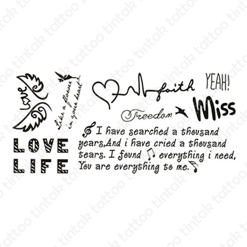 written words and quote temporary tattoo sticker design