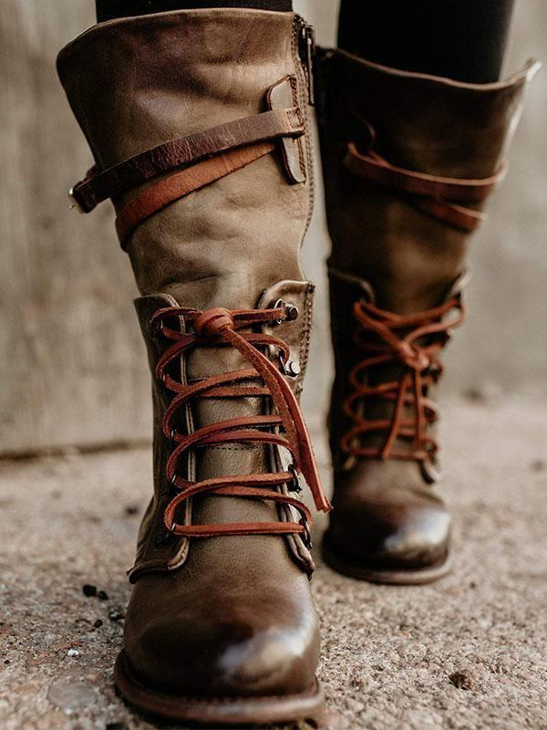 Vintage Women Lace-Up Side Zipper Boots