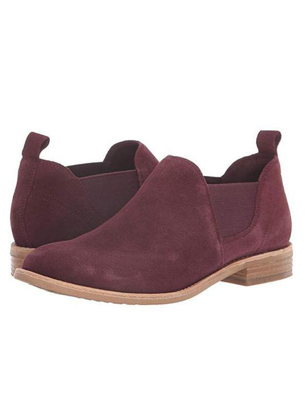 Suede Slip on Ankle Booties