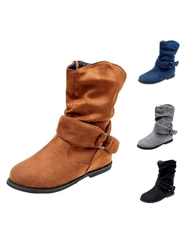 Suede Buckled Boots