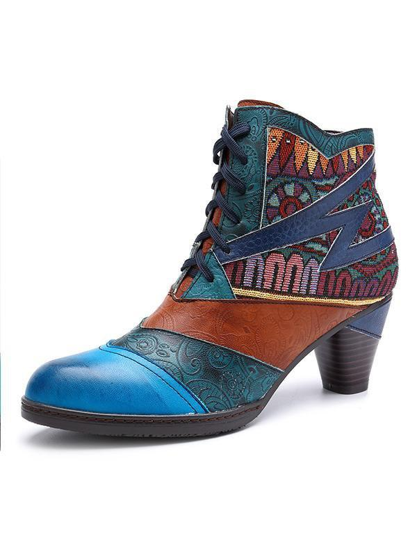 Handmade Leather Stitching Jacquard Fashion Boots
