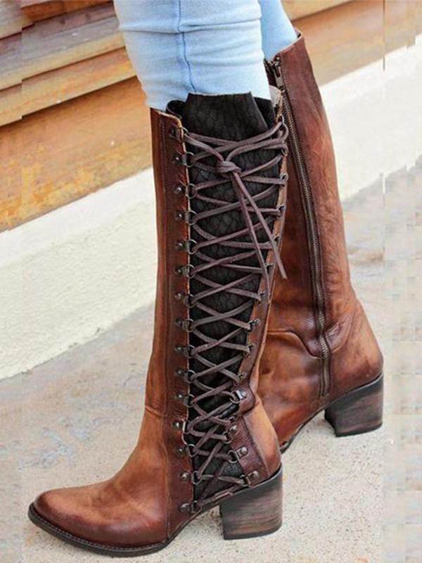 Retro Lace Up Zipper Boots