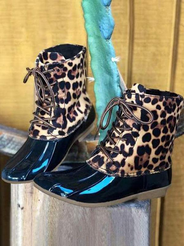 Leopard Printed Waterproof Lace Up Boots