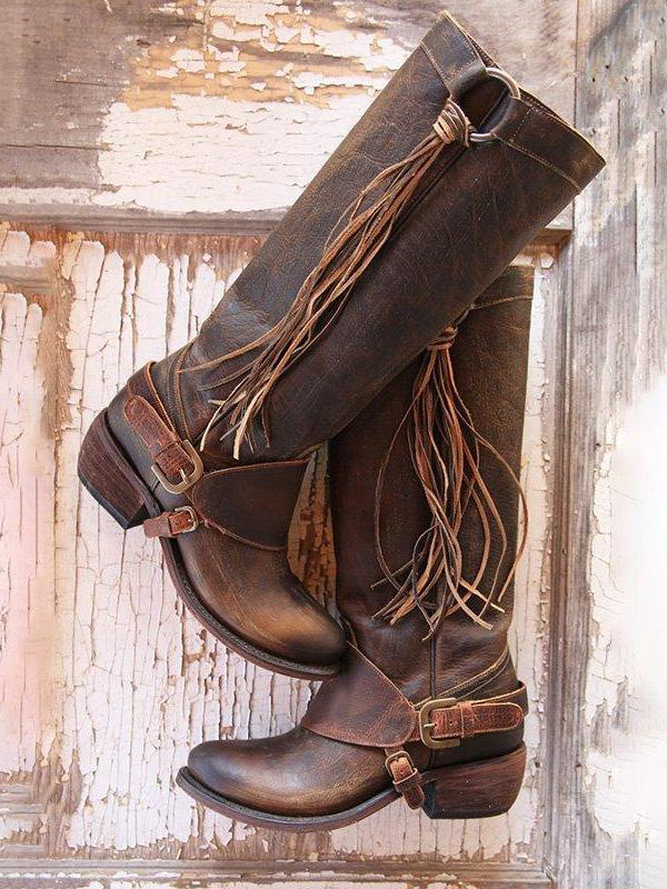Women Vintage Tassel Knot Knee High Boots