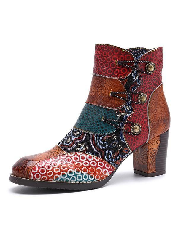 Handmade Leather Stitching Jacquard Craft Boots