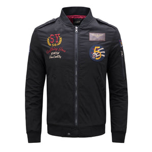 Men's Embroidery Thickened Long-Sleeve Flight Jacket