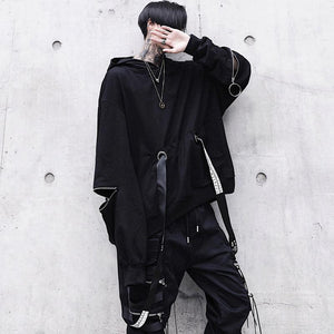 2019 new male dark loose hooded sweater
