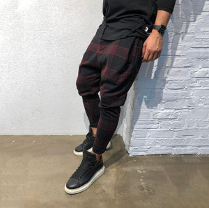 Men Casual Plaid Loose Haren Pants