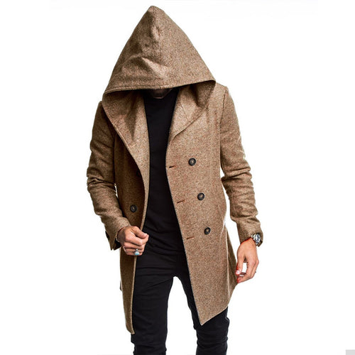 Men's Casual Hooded Woolen Outerwear