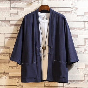 Men solid color Cropped sleeve cardigan