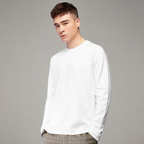 2019 spring new men's clothing solid color long-sleeved t-shirt men's casual round neck shirt