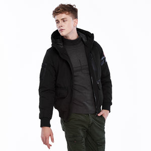 Men's Autumn Winter Pure Color Hooded Thickened Padded Jacket