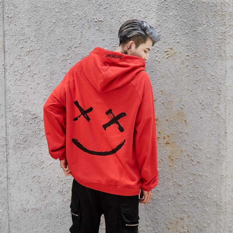 Men Hoodies Sweatshirts Smile Print Headwear Hoodie