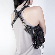 Load image into Gallery viewer, Unisex Black Leather Steampunk Leg Thigh Hip Bag