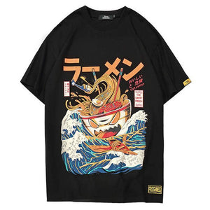 Hip Hop T- Shirts Noodle Ship Short Sleeve Casual Top Cotton Cartoon Streetwear T-shirts