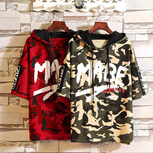 2019 new men's camouflage hooded short-sleeved sweater