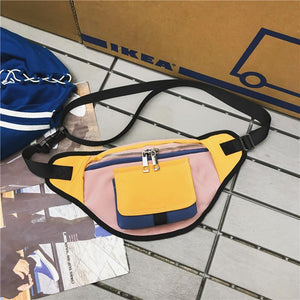 Unisex Color Block Nylon Fanny Pack  Belt bag