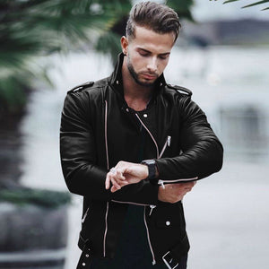 Men's Fashion Slim Leather Jacket