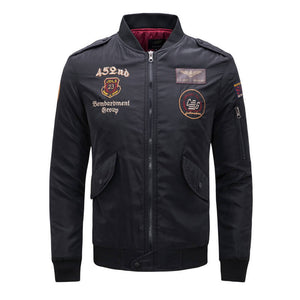 Men's Fashion Embroidery Stand Collar Leather Jacket