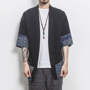 Plus Size Chinese Style Kimono Men Shirt Half Sleeve Casual Streetwear