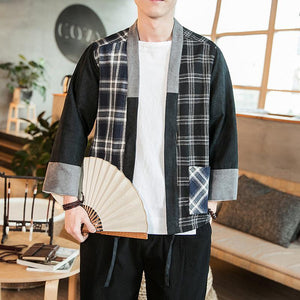 Cotton and linen stitching men's casual cardigan