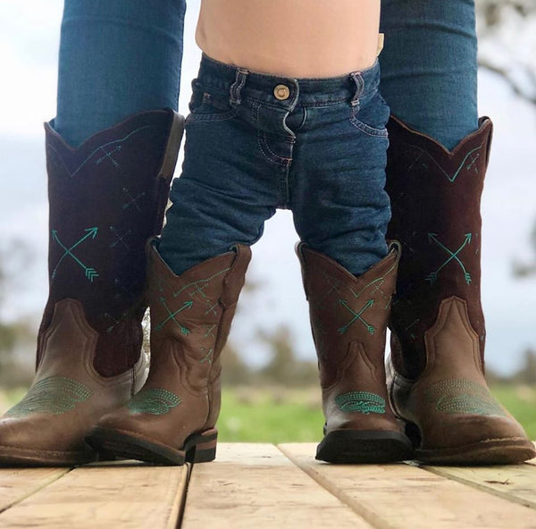 Kids Turquoise Arrow Boots