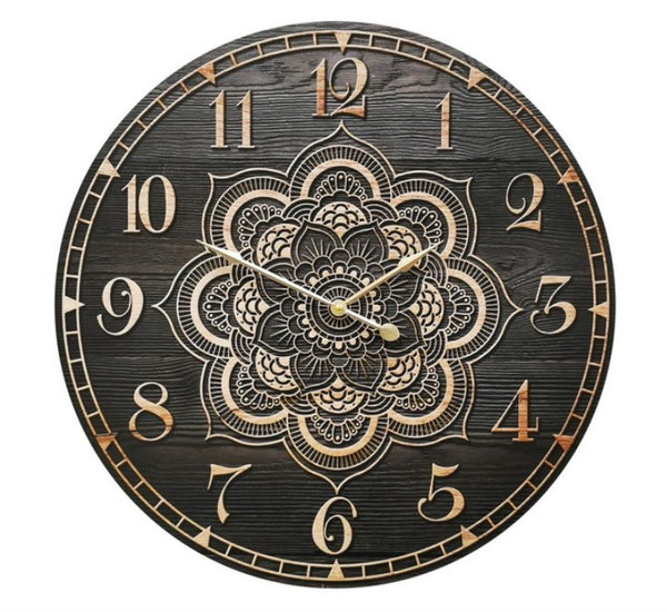 Huge 58cm Mandala Wooden Printed Clock
