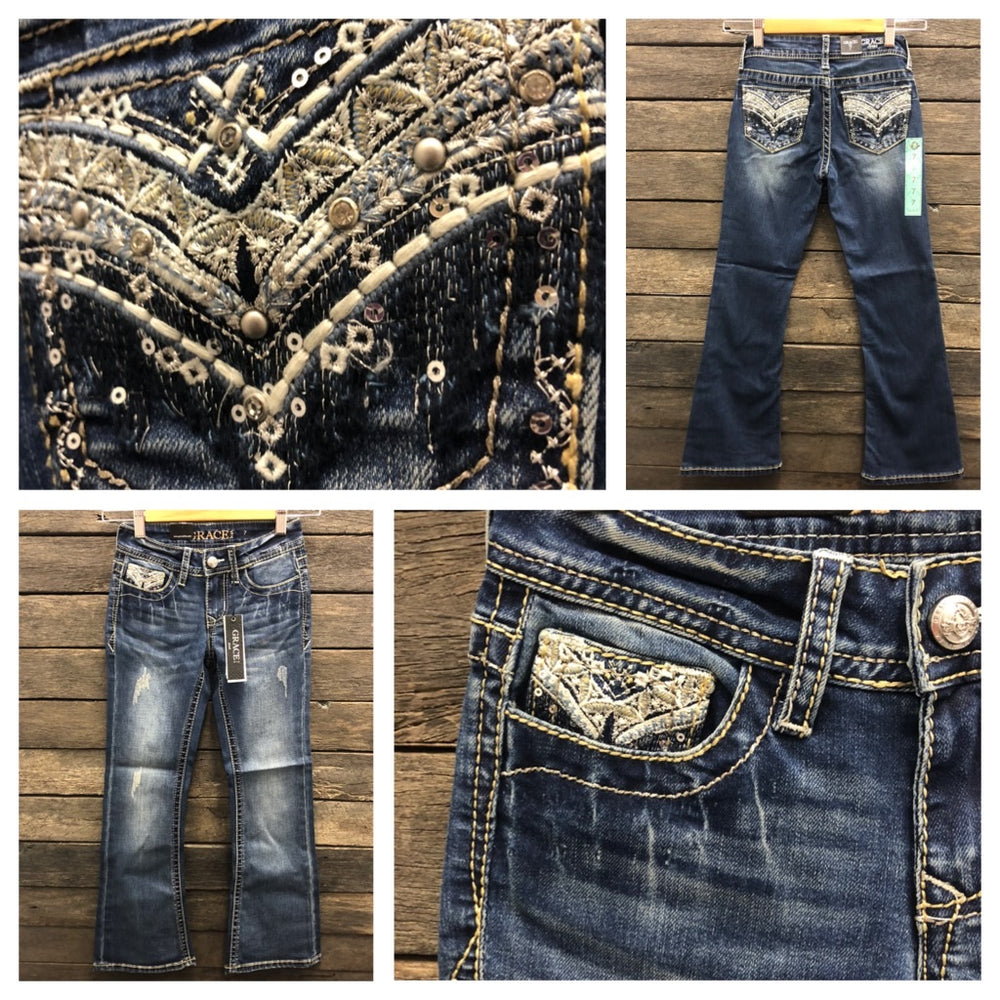 Girls Metallic Rain Bootcut Jeans Size