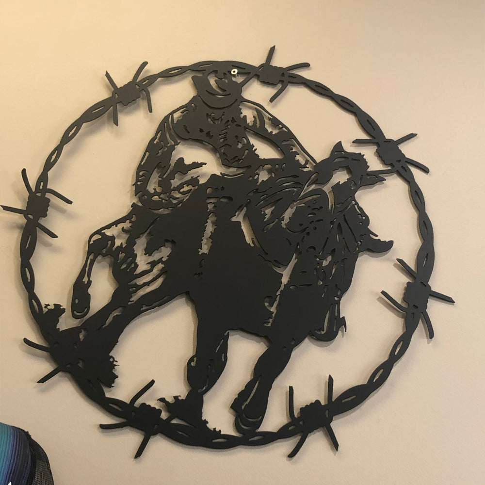 'Barbed Steer Wrestling' Metal Wall Sign