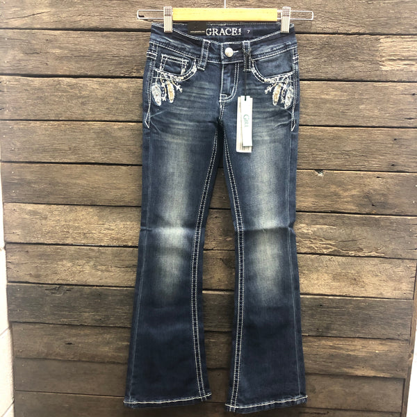 Girls Arrow and Feather Bootcut Jeans - Girls Size 7-16 left