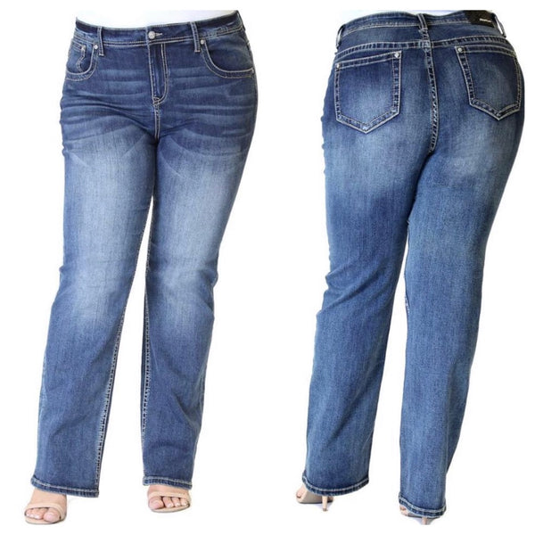 Workwear - Medium Wash Bootcut Plus Size Jeans RESTOCKED