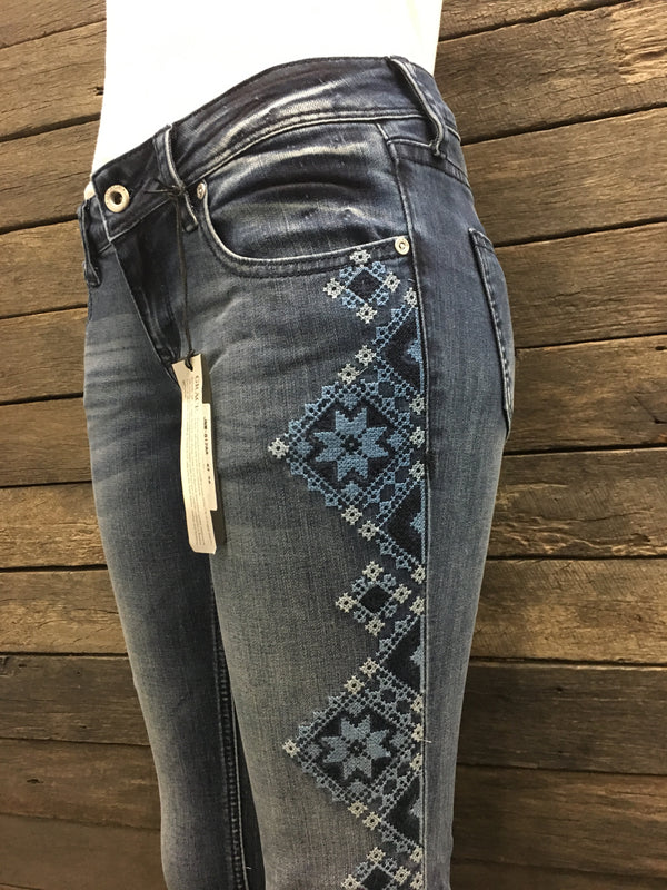 Cross-Stitch Embroidered Hipster Skinny Leg Jeans - AU4-AU16 left