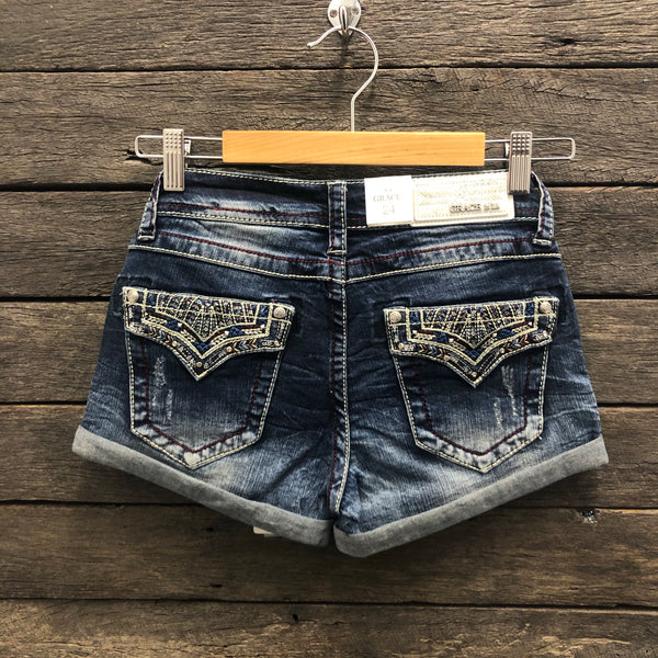 Western Burgundy Stitch Hipster Denim Shorts AU6-AU12 left