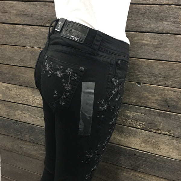 Midnight Black Floral Embroidered Hipster Skinny Leg Jeans