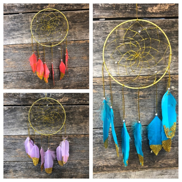 Gold Tip Feather Glitter Dreamcatcher - Various Colours