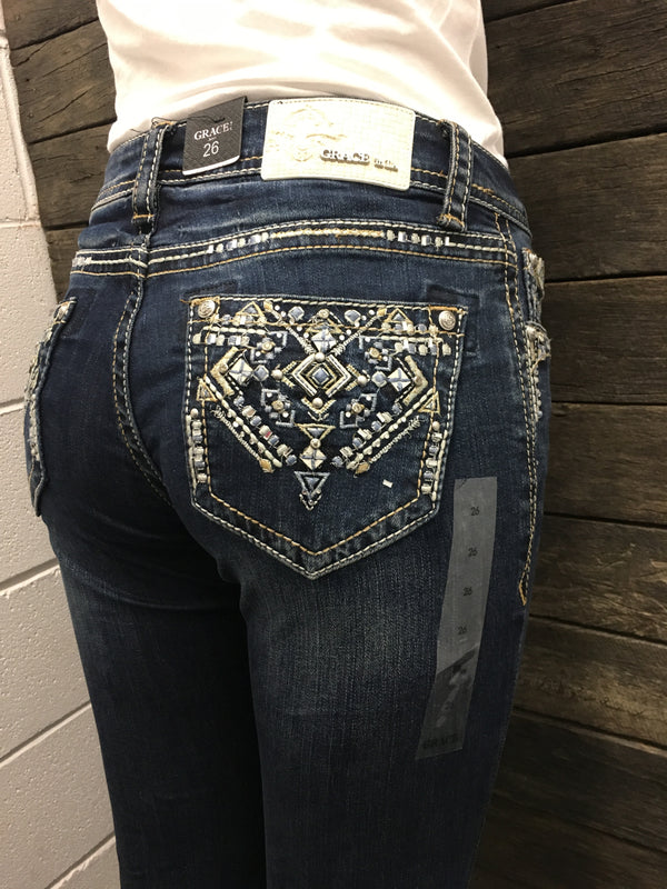 Blue Aztec Dark Wash Hipster Bootcut Grace In LA Jeans AU8-AU12 & AU16 left