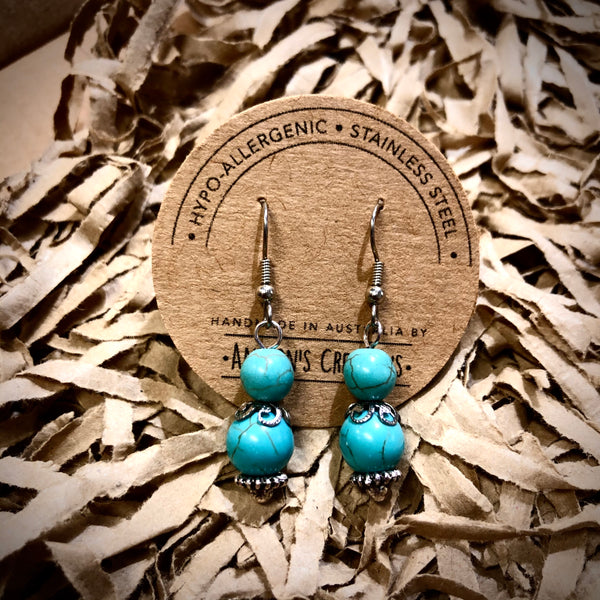 Cowgirl Fierce Turquoise Beaded Stainless Steel Earrings