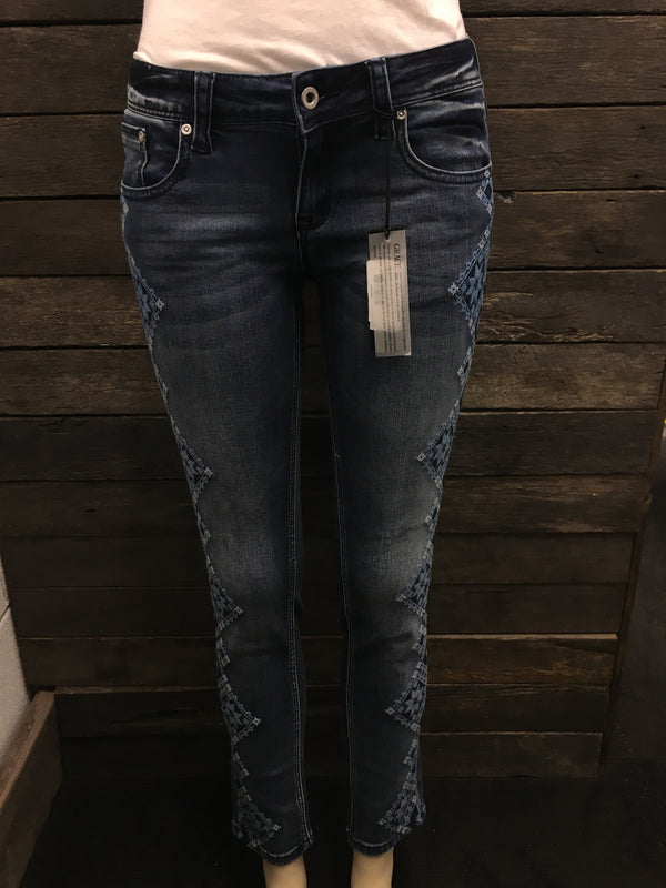 Cross-Stitch Embroidered Hipster Skinny Leg Jeans - RESTOCKED