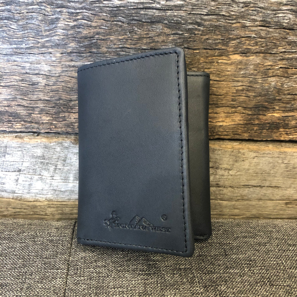Navy Genuine Leather Mens Tri-Fold Wallet