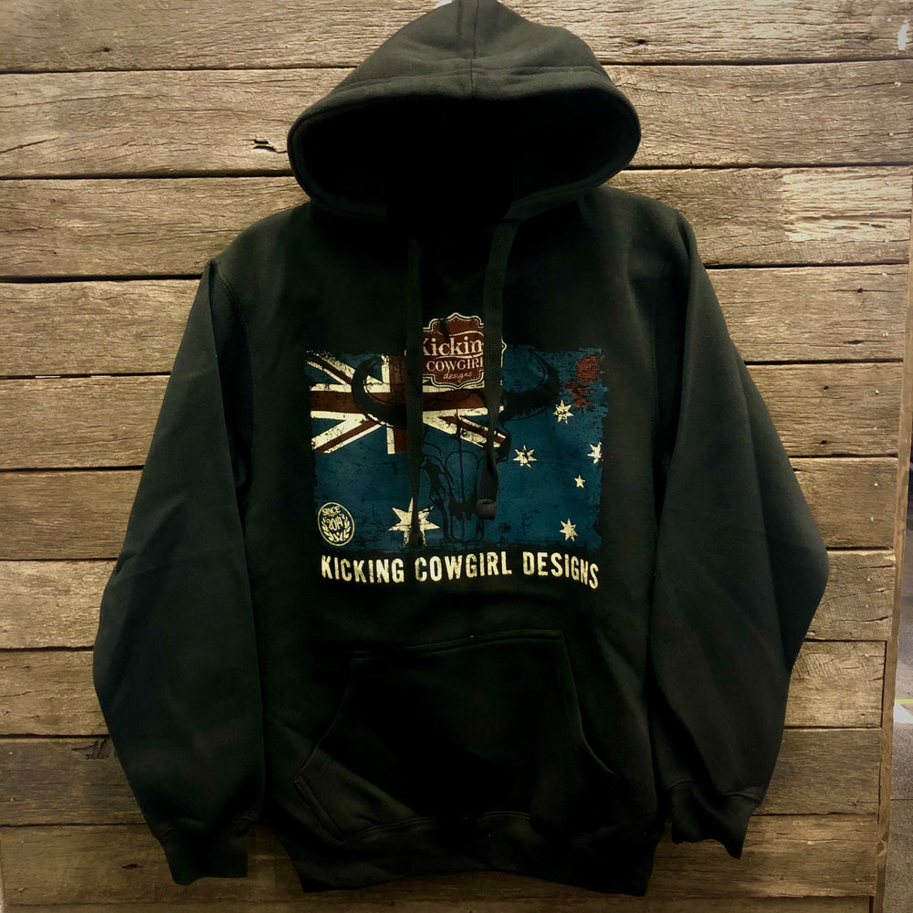 Black Aussie Flag KCD Fleece Hoodie AU10-AU16 left