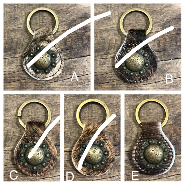 Brown Brindle Hair On Western Bronze Berry Concho Keyring