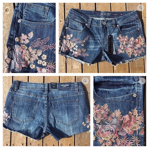 Metallic Floral Hipster Grace In LA Shorts ON SALE - AU6-AU8 left